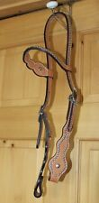 Tex Tan Natural Color Leather Headstall - Carved brow band  - Nickel Spots