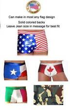 Men's Bun huger Flag print USA, Texas flag swim shorts Made to your Jean size