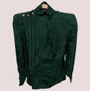 BALMAIN PARIS H&M Jacquard-Weave Silk Blouse Green UK 12 LN110 GG 05