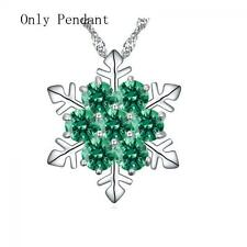 Frozen Flower Necklace Snowflake Pendant Silver Plated Rhinestone Green