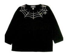 M 10/12 HALLOWEEN SPIDER WEB ART DESIGN TERAZZO WOMENS COTTON KNIT TOP OPTION