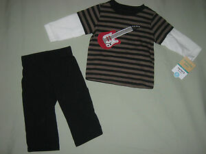 NEW CARTERS 6 MONTHS 2 PIECE SET ROCK STAR GUITAR NAVY BROWN RED EVERYDAY EASY