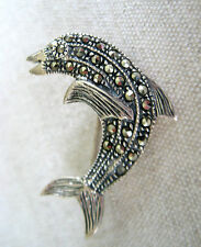 Brooch Pin Dolphin Hand Made Vintage Estate Sterling Silver Natural Marcasite