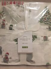 4pc NEW Pottery Barn Snowman Full Sheet Set Winter Village Christmas
