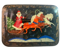 "Russian Lacquered Trinket box Hand Painted Santa Christmas 3"" X 2 1/8"""