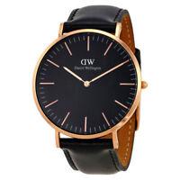 DANIEL WELLINGTON 36mm Rose Gold Classic Black Sheffield Lady's Watch DW00100139