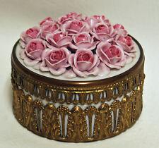 Vintage 1940s German Porcelain Pink Roses Rose Trinket Dresser Powder Vanity Box