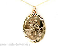"""9ct Gold Oval St Christopher Pendant and 18"""" Chain Gift boxed Hallmarked"""