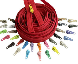 Zipper by The Yard YKK #3 Coil  Make Your Own Colorful Zipper - Auto Lock Pulls