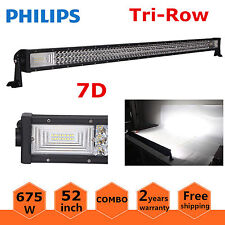 7D Tri-Row 52inch 675W Philips LED Spot Flood Combo Light Bar 4WD Boat Truck SUV
