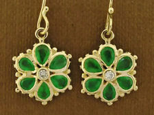E036 Superb 9ct Gold NATURAL Emerald & Diamond DAISY EARRINGS Blossom Flower