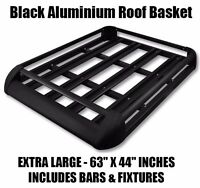 Large Black Aluminium Roof Rack Basket Tray Luggage Cargo Carrier with Bars XL-B