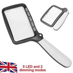 Magnify Glass with 5 LED Folding Handheld Magnifying Light Portable Rectangle UK