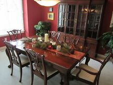 Mahogany Dining Table with Inserts and Pads plus Hutch