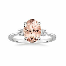 14K Gold Natural Morganite Rings 2.87 Ct Gemstone Diamond Ring All Size M N O P