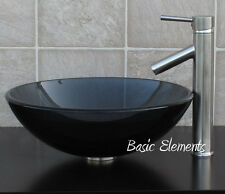 Bathroom Clear Black Glass Vessel Vanity Sink With Brushed Nickel Faucet 12.5N01