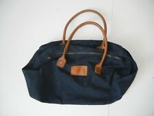 ABERCROMBIE & FITCH Navy Blue/Brown Leather DUFFLE BAG Travel Tote Overnight Gym