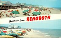 Greetings From Rehoboth Beach Delaware 1950s Postcard