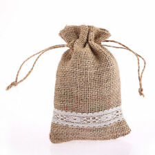 CraftbuddyUs10pc 10*15cm Burlap Hesian Jute Lace Border Drawstrng Gift Favor Bag