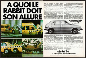 1975 VOLKSWAGEN Rabbit Vintage Original 2-pages Print AD Golf crash test Canada
