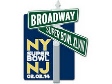 SUPER BOWL XLVIII  SEAHAWKS vs BRONCOS 2014 HEART OF BROADWAY STREET SIGN NY PIN