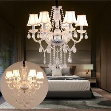 E14 6 Leuchten Deckenlampe Kristall Hängelampe Lampenschirm Kronleuchter Klar