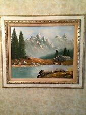 Old Antique Oil Painting, Cabin In The Mountains, Signed. 31 1/4Wx27 1/4H