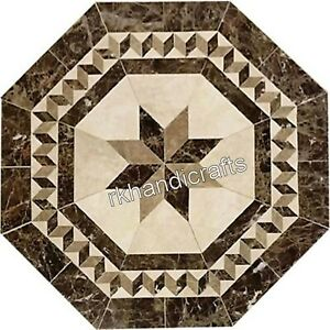36 Inches Stone Work Inlaid Dining Table Top Octagon Marble Hallway