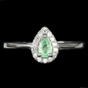 0.52ct Brazilian Emerald & White Topaz Ring in 925 Sterling Silver - UK Size L