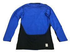 Nike Pro Combat Men's Dri-Fit Hyperwarm Lite Blue And Black Shirt Size Large