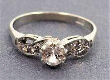 Women Engagement Wedding Ring 9ct White Gold & Cubic Zirconia Vintage Jewellery