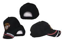 Marines USMC EGA Emblem Insignia Marine Corps Swirl Embroidered Black Cap Hat