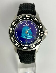 FREE STYLE 771 STAINLESS STEEL BLUE SHARK DIAL 10ATM ROTATING BEZEL LADIES WATCH