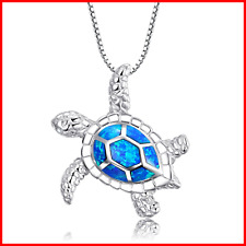 925 Sterling Silver Created Sea Turtle Pendant Necklace 18
