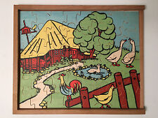Antonio Vitali Jigsaw Puzzle wood Toy Farm Animals - Rare Vintage Swiss Design