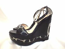 ALLESANDRO DELL'ACQUA black and silver sequin trim wedge 37.5 7.5