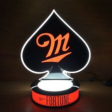 Miller Fortune Beer Poker Spade LED Neon Light & Bottle Glorifier NEW & F/S