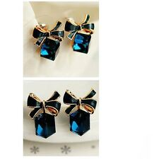 Women's New 2016 Chic Shimmer Gold Plated Bow Cubic Stud Earrings Jewellery