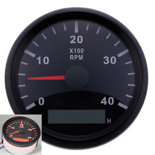 Marine Car RPM Tachometer Analogue Gauge Red LED Tacho Hour Meter 4000RPM 85mm