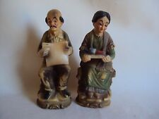 VINTAGE HARD PLASTIC WOMAN MAN COUPLE FIGURINES MADE IN HONG KONG
