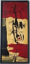 Interesting Mid Century Acrylic on Board Abstract Painting