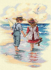 Cross Stitch Kit ~ Dimensions Little Boy & Girl Holding Hands Beach #13721