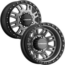 "Set of 4-17"" Inch Vision 408 Manx 2 Dually 8x210 Gunmetal Wheels Rims"