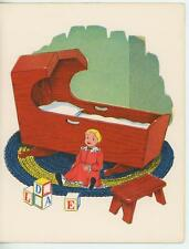 VINTAGE BABY CHILD CRADLE DOLL ABC BLOCKS PRINT & 1 QUILT QUILTING SHOP ART CARD