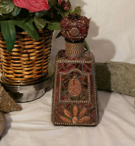 MOSAIC Burgundy BOTTLE - Hand Designed MOSAIC BOTTLE IS FOR YOUR HOME W214