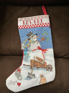 Hand Embroidered Needlepoint Christmas Stocking EDWARD Snowman Cats Hope