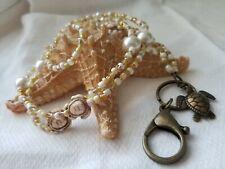 Beaded Lanyard ID Badge Holder Gold Turtle Wire Bead CUSTOM OOAK Honu NEW