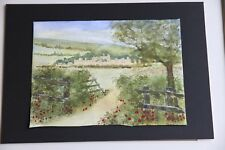 New Watercolour Castle Through the Gate & Poppies 30cm x 22cm unmounted unframed