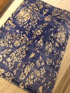 Modern Spectacular Art SilkTibetan  HandKnotted Rug 2'X3' Hand Woven Blue