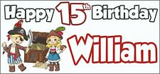 Pirate 15th Birthday Banner x 2 - Party Decorations - Personalised ANY NAME